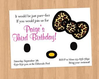 Hello Kitty Leopard Bow Face Invitation