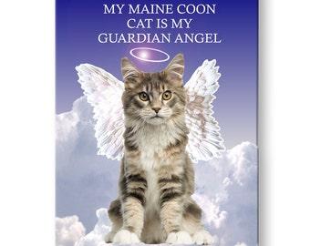 Maine Coon Cat Guardian Angel Fridge Magnet No 4
