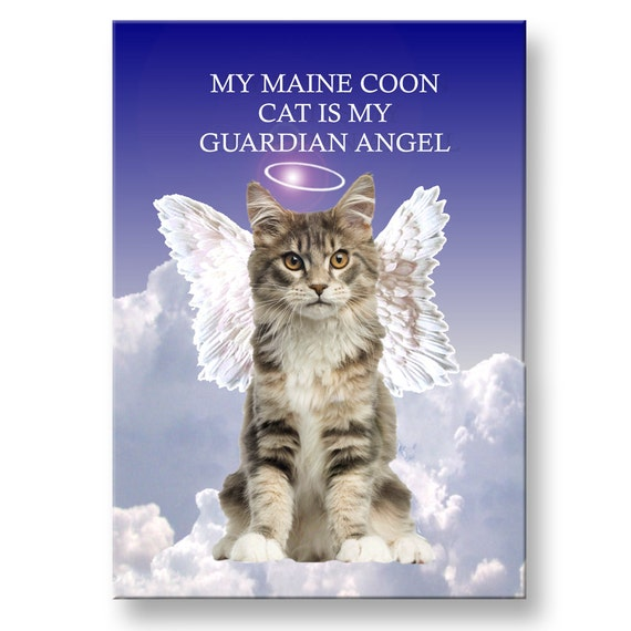 Maine Coon Cat Guardian Angel Fridge Magnet No 4