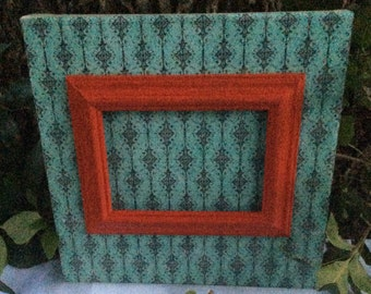 Vintage Inspired wall decor, stacked red frame on a Victorian teal Damask, Le Fleur decoupaged canvas, red picture frame, wall art