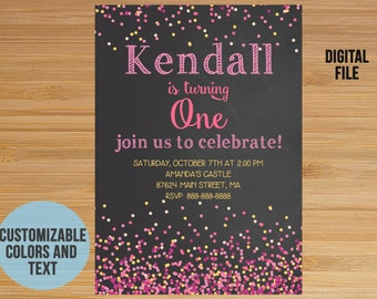 Conffeti First Birthday Invitation, Pink Confetti Chalkboard Invitation Invite, First Birthday Invitation for girl, Confetti party, Any age