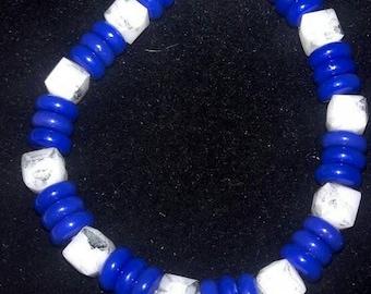 Blue-tube and White Cube Glass Bracelet