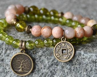 Abundance,Money Bracelet,Sunstone, Peridot,Lucky Mala Gemstone Bracelet,Chakra Bracelet,Healing Meditation,Buddha Yoga Mala