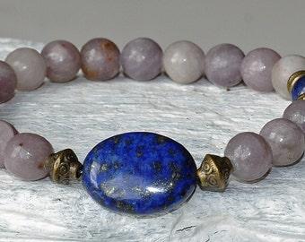 Anti Anxiety, Calming Bracelet, Lepidolite, Lapis Lazuli Gemstone Mala, Healing Chakra Bracelet, Stress Free Bracelet, Health Bracelet, japa