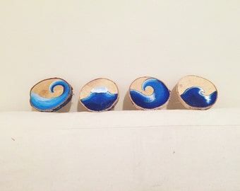 Hand painted Wave Coster