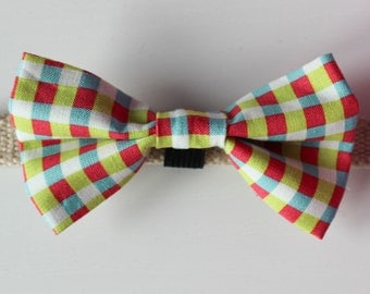 Bright Gingham Dog Bow Tie