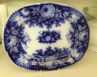 Antique meat plate, Boch Freres approx. 1870, flow blue