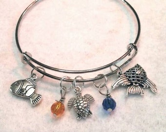 Disney finding nemo inspired adjustable bangle finding dory charm bracelet