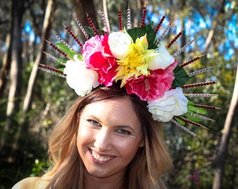 Large spike floral headpiece
