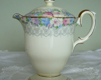 Vintage 1930's Crown Staffordshire Jug with Lid, in pattern F15035
