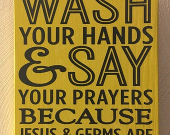 Wash Your Hands Sign - Grey on Yellow