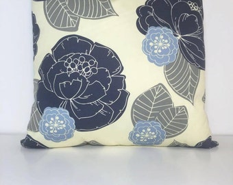 Blue, Grey, and Tan Flower Pattern Decorative Pillow