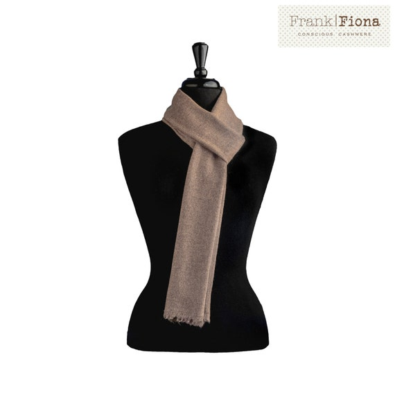 100% Pure Organic Cashmere Scarf,Christmas gift,Grade A Mongolian Cashmere,12x80 inches,Dark Brown,Lightweight Shawl,Eco Friendly,Knitted,6N