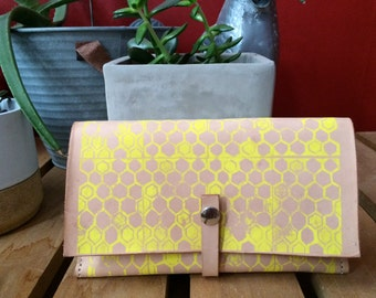 Leather Clutch, Single Snap Strap, yellow honeycomb pattern on natural