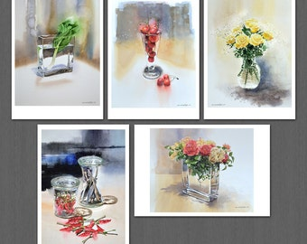 Glassware, Bok Choy, and cherries and watercolor Post card 5pcs