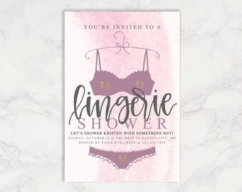 Bachelorette Lingerie Shower Invitations ~ Watercolor Lingerie Shower Invitations ~ Calligraphy Invitations