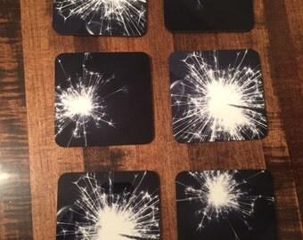 6 Black and White Sparkler Coaster Set