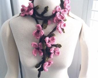 Hand Knit Cherry Blossom Scarf