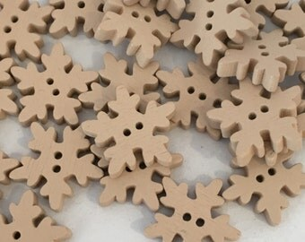 cream wooden snowflake buttons, christmas buttons, cream buttons, cream christmas buttons, christmas crafts, 18mm buttons, craft buttons