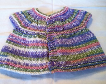 Baby Sweater - Sage/Purple/Pink/Blue with purple buttons