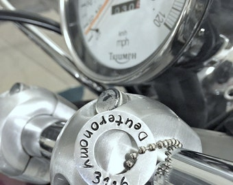 Bless the Bike Hand Stamped Personalized Bike Accessory- Motorcycle Accessory- Bike Bling- Bike Charm