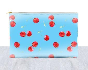 cherry bag, cherries purse, fruit makeup bag, cherry travel pouch, cherries accessory pouch, girl pencil case, girl bag, cherry coin purse