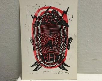 CREEP #1 / hand pressed block print Linocut