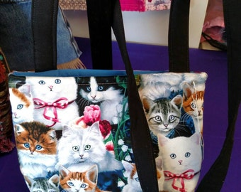 Cuddly Kittens Cotton Crossbody Bag Blue