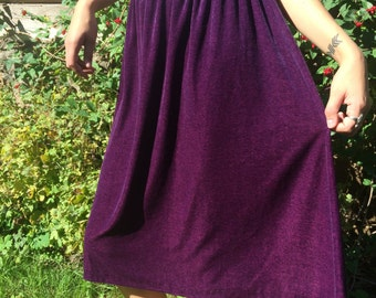 Vintage Velvet high waist skirt Soft Sheer pleated purple skirt Mid Calf Elastic Waist  Size small to medium