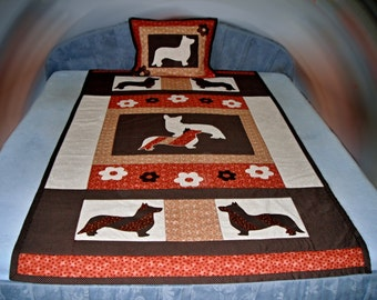 Corgi quilt and pillow for one bed
