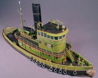 HO 1:87 Scale 92' Steam Railroad Tugboat Kit Waterline Hull for Model Railroad, Diorama
