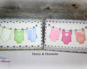 Birth card / card Henriette & Henry