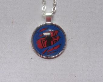 Spiderman Superhero Glass Pendant Necklace
