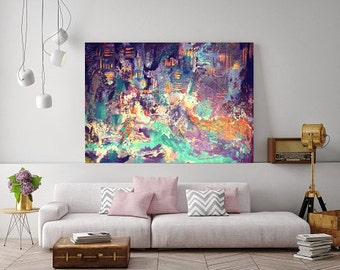 "Abstract Print, Acrylic painting - ""Beach lights"", Beach, Abstract wall decor, Abstract art"