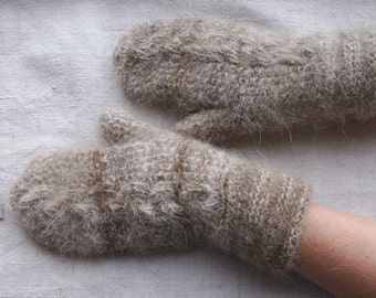 Handknitted mittens from dog's wool yarn
