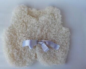 White hand knitted girls Vest - Knitted vest - Little girl vest