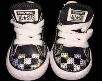 Baby - Toddler Swarovski crystal checkered flag converse shoes - FREE SHIPPING