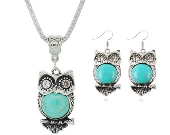 Tibetan Turquoise Owl Chain Necklace & Earring