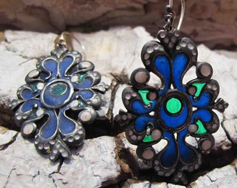 vintage blue enamel earrings Green Black