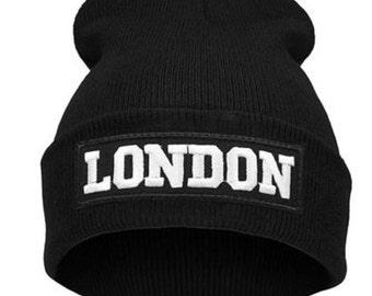 London  beanie london embroidery flag
