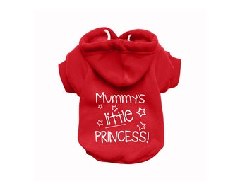 MUMMY'S Dog Sweatshirt Hoodie - Dog Sweater - Dog Jumper - Printed Dog Clothing - Red Dog Hoody