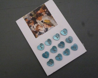 Set of small Heart-shaped Mother-of-Pearl buttons