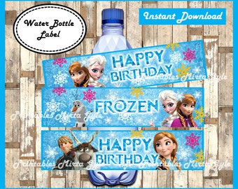 frozen Water Bottle Label, printable frozen party Water Bottle Label, frozen water bottle labels