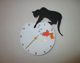 Cat Gone Fishing Clock