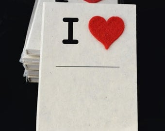 """LAMALI - I Heart Journal LARGE (A5 - 5.8 x 8.3"""") - gorgeous paper quality! Perfect gift!  Made in Nepal"""