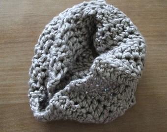 Crochet/Handmade/Silver infinity scarf/crochet/crocheted infinity scarf