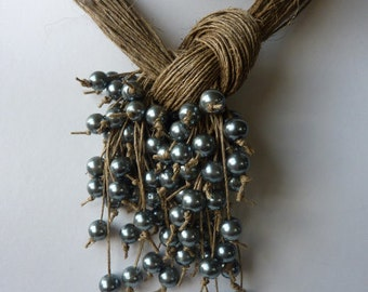 Organic gift  necklace  Linen Jewelry One of a Kind Natural Linen necklace with Silver Pearls Necklace