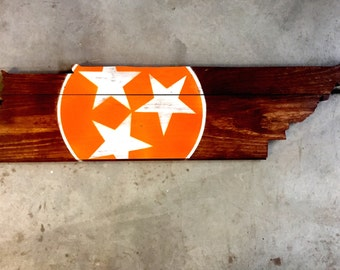 Wooden Tennessee State Tri-Star