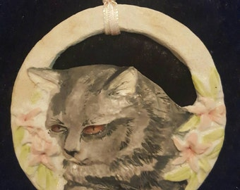 Gray tabby cat porcelain ornament