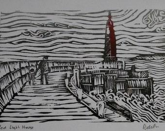 Hand Printed linocut  Card